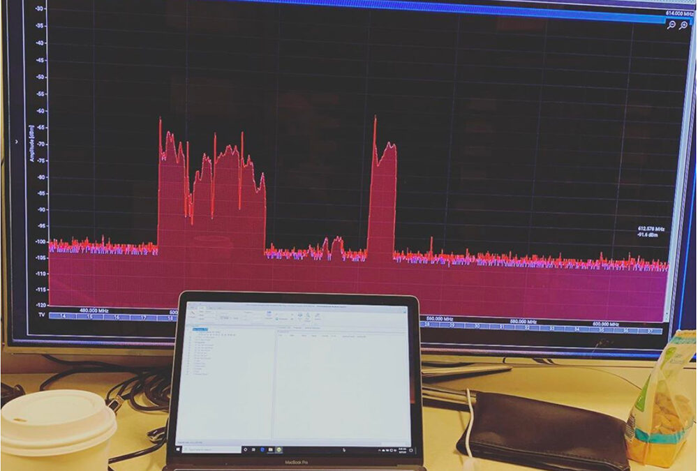 """After coordinating 300+ frequencies on a 55"""" monitor, we'll never want to go back to our laptops screens #frequencycoordination"""